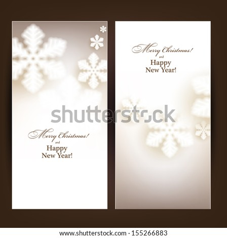 Winter banners. Fallen defocused snowflakes. Christmas. Vector.    - stock vector