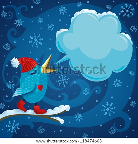 Winter Bird With Space For Your Text - stock vector