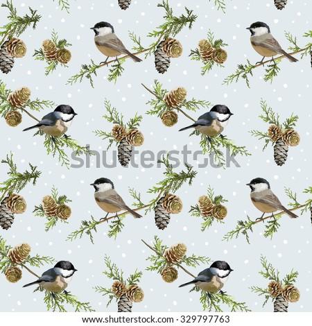 Winter Birds Retro Background - Seamless Pattern - in vector - stock vector