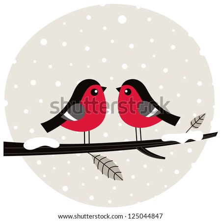 Winter birds sitting on the branch - stock vector