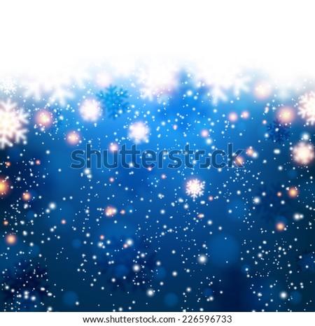 Winter blue background. Fallen defocused snowflakes. Christmas. Vector.   - stock vector