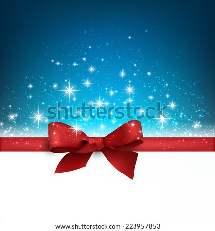 Winter blue background with crystal snowflakes with ribbon and gift bow. Christmas decoration. Vector. - stock vector