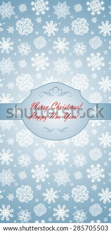 Winter blue greeting template with beautiful paper snowflakes - stock vector
