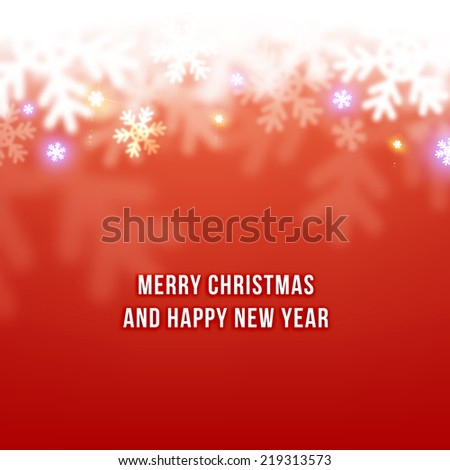 Winter Blurred Bokeh Background with Glow Snowflakes. Holiday Design for New Year Greeting Cards, Posters and Flyers. Vector. - stock vector
