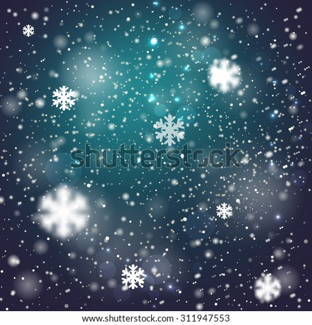 Winter blurred bokeh background with glowing snowflakes. Great holiday design for New Year greeting cards, posters and flyers, etc - stock vector