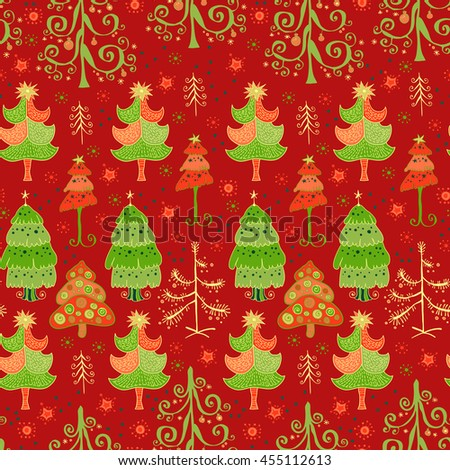 Winter bright Christmas doodle pattern. For a festive package. Vector seamless pattern of christmas tree.  - stock vector