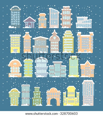 Winter buildings icons. Skyscrapers and towers in snowfall. Snow on rooftops and snowdrifts. Urban structure. City snowstorm. Elements of city. Government and public buildings. Winter architecture   - stock vector