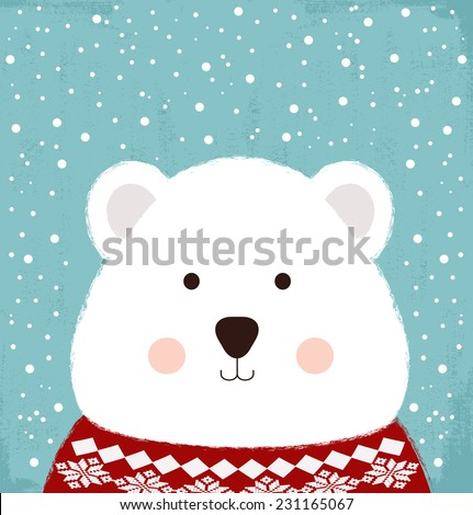 winter card with cute bear - stock vector