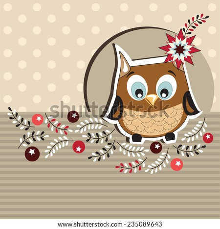 Winter card with cute owl - stock vector