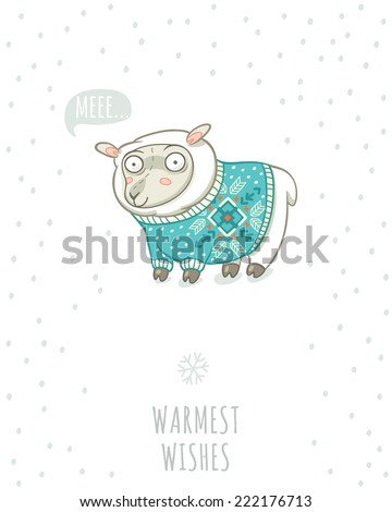 Winter card with cute sheep in knitted sweater - stock vector