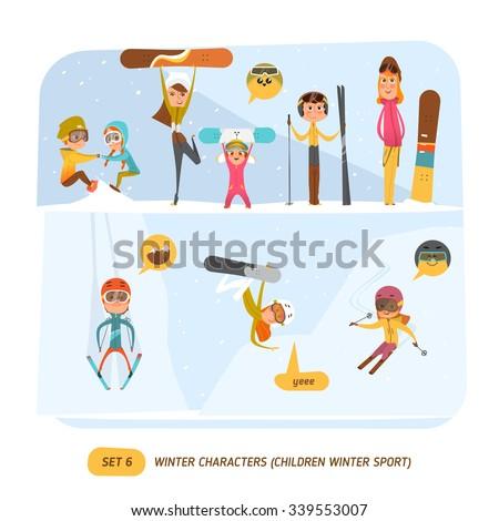 Winter character set. Sport - stock vector