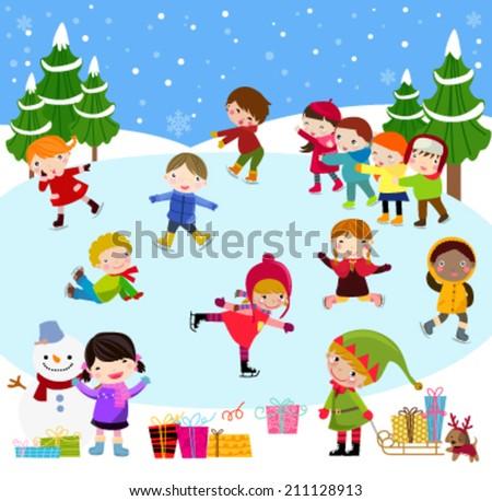 Winter children - stock vector