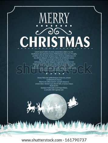 Winter Christmas background with flying Santa - stock vector