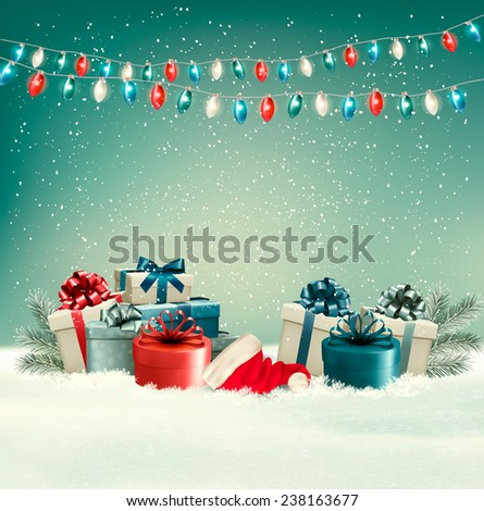 Winter christmas background with gifts and a garland. Vector. - stock vector
