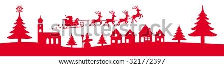winter christmas banner red colour vector illustration - stock vector