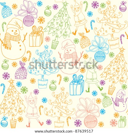 Winter christmas colorful elements seamless pattern - stock vector