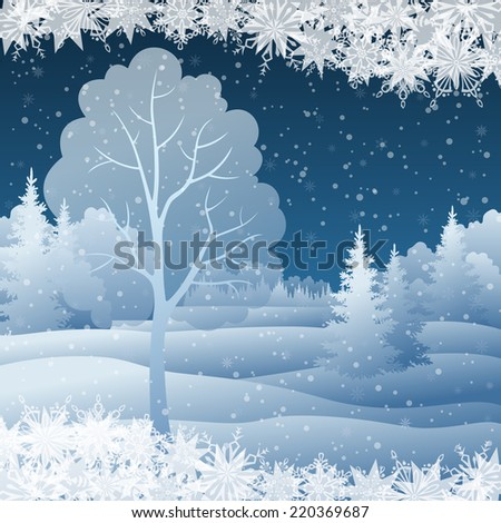Winter Christmas holiday woodland night landscape with snow covered trees and snowflakes. Eps10, contains transparencies. Vector - stock vector