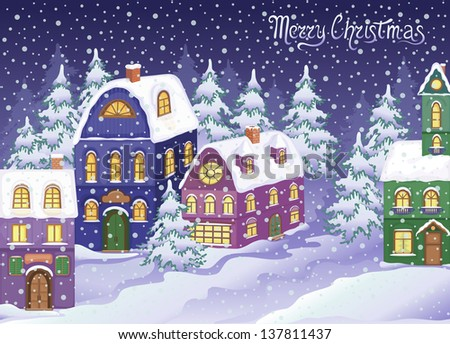 Winter Christmas landscape with snowy houses. Eve of Christmas. A celebratory snowy atmosphere. Holiday illustration. Congratulatory card, the poster, etc.. - stock vector