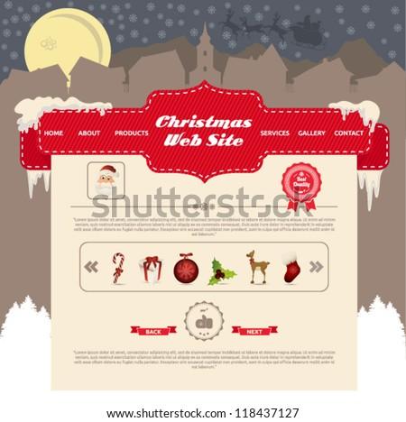 Winter - Christmas Website Design Vector Elements - stock vector