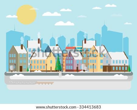 Winter city background - stock vector