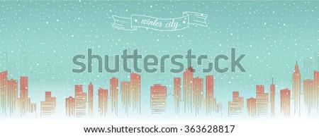 Winter city skyline, detailed silhouette. Trendy vector illustration, linear style. Banner - stock vector