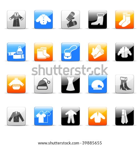 winter clothes icons - stock vector