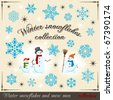 Winter collection 2. Modern design element for cold season. Set of snowflakes and snow. - stock vector