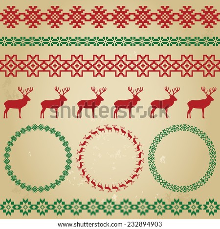 Winter colorful holiday set on beige grunge background. Deer and snowflake, nordic round holiday decoration patterns. Could be used for web, cards, decorations, etc. Vector illustration - stock vector