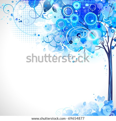 winter composition with blue snow tree - stock vector