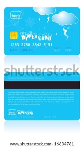 winter credit card - stock vector
