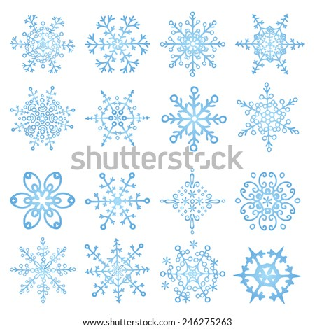 Winter cyan Snowflake big set.Decor elements.Vector doodles. Vintage christmas,New year background,icon,sign - stock vector