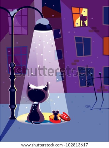 Winter date. The vector illustration of a cat waiting for his girlfriend. - stock vector