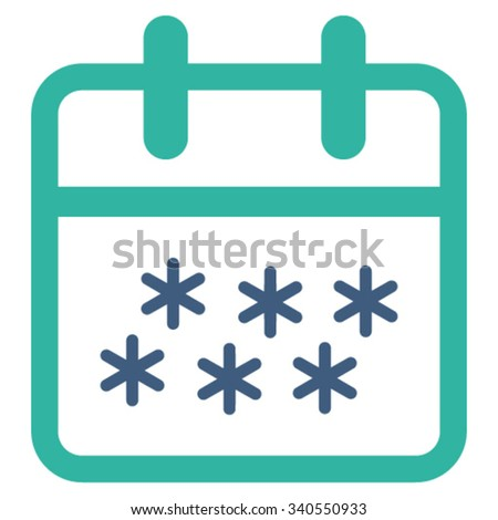 Winter Date vector icon. Style is bicolor flat symbol, cobalt and cyan colors, rounded angles, white background. - stock vector