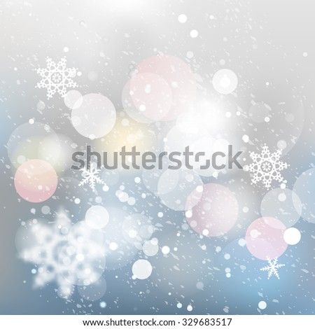 Winter defocused background. Falling snow texture with bokeh lights and snowflakes. Christmas background with silver, gray and blue colors. - stock vector