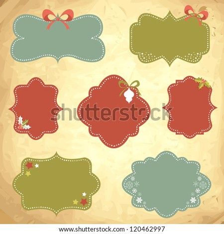 Winter design Christmas sale stickers and tags for text and discounts in retro vintage style - stock vector