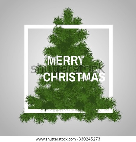 Winter design with christmas tree. Merry Christmas vector illustration. - stock vector