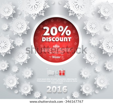 Winter discount best choice design flat. Sale and coupon, offer shopping, promotion and save money, winter christmas,  label and price, advertising buy, special retail illustration - stock vector