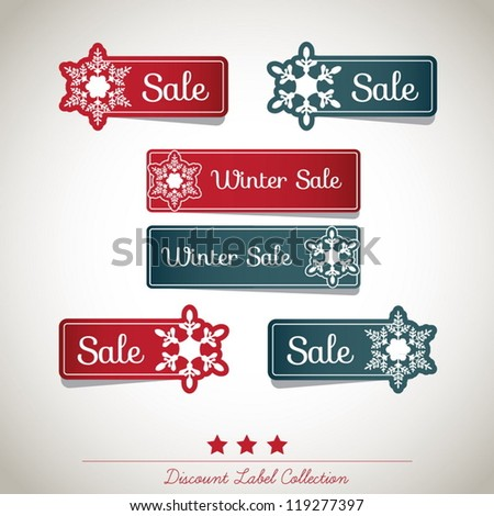 Winter Discount Label Collection - stock vector