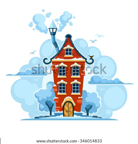 Winter fairy-tale house in snow with clouds. vector illustration. Isolated on white background. Transparent objects used for lights and shadows drawing. - stock vector