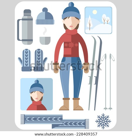 Winter flat set female version. - stock vector