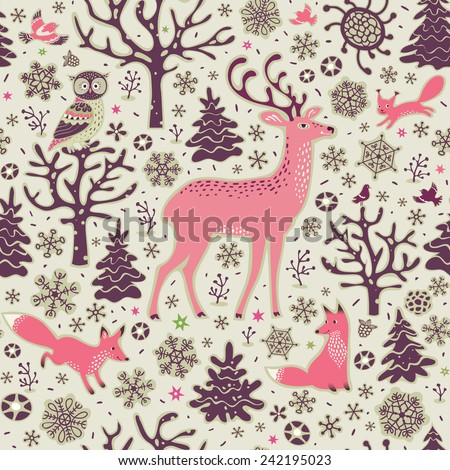 Winter forest background. Seamless pattern. Owl, deer, foxes, squirrel, birds, trees and snowflakes. Vector illustration. - stock vector
