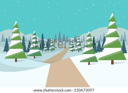 winter forest landscape Christmas background, pine snow trees woods vector illustration - stock vector