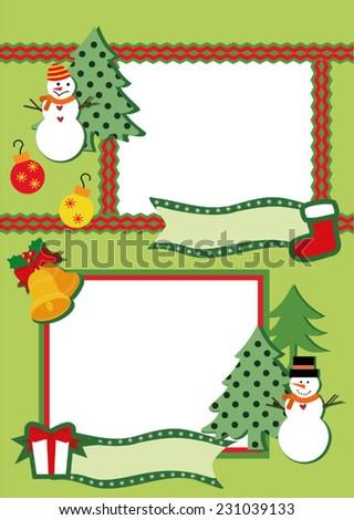 Winter Frame for two photos  - stock vector
