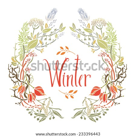 Winter Frame of leaves and twigs - stock vector