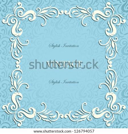 Winter frozen vintage frame on seamless swirls  background - stock vector