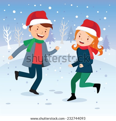 Winter fun. Dancing in the snow. Happy young couple or friends playing in the snow. - stock vector