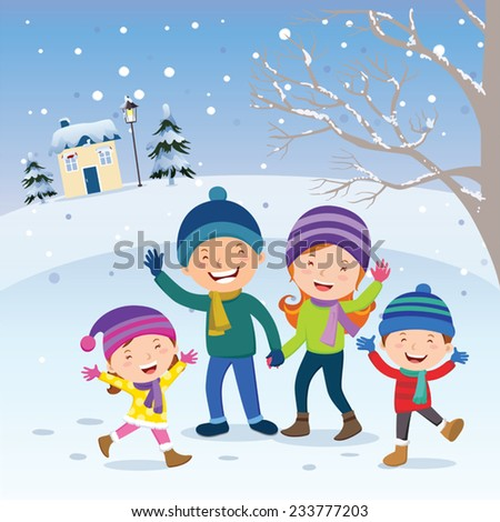 Winter fun. Happy family at winter vacation. Happy family gesturing happily with winter background. - stock vector