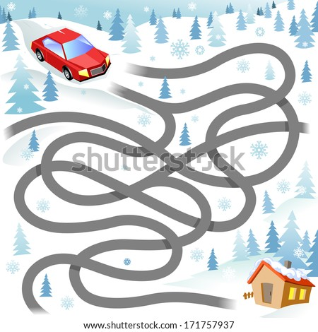 Winter Funny Maze Game: the Red Car Finds the Way to the House. Christmas Driving Vector Illustration - stock vector