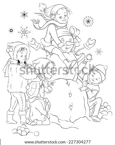 Winter games, children and snowman. Colouring page. Also available colored version - stock vector