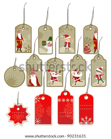 Winter gift tads - stock vector